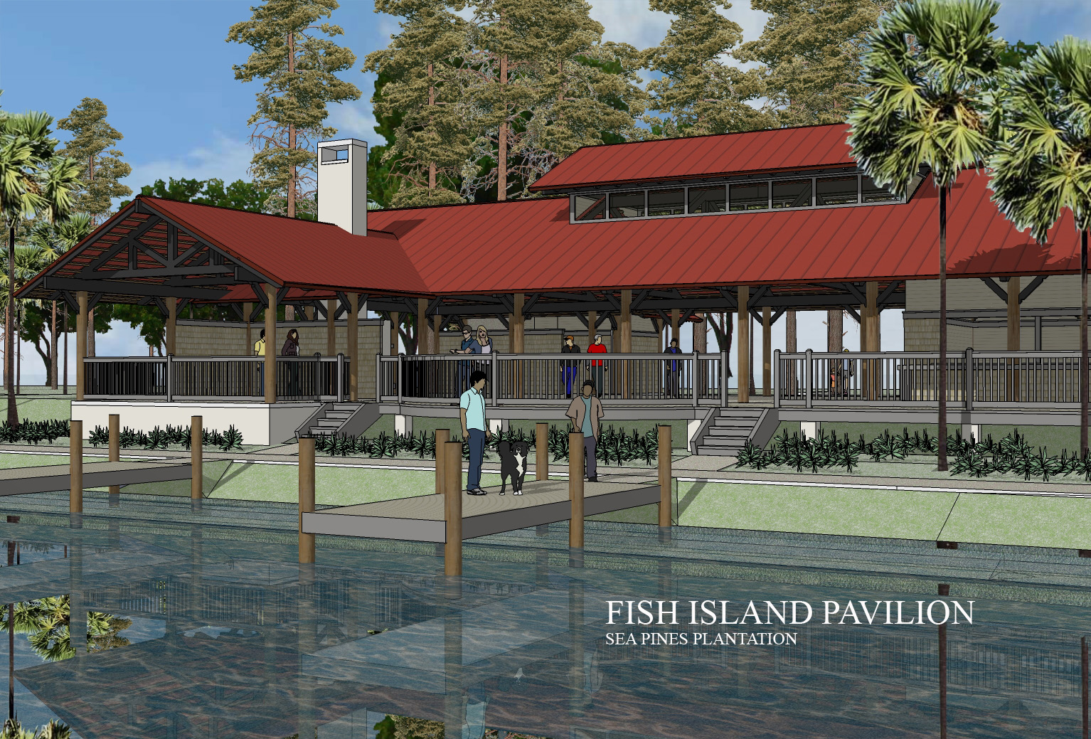 Fish Island pavillion, recreational Community Project, Sea Pines plantation, Hilton head, SC